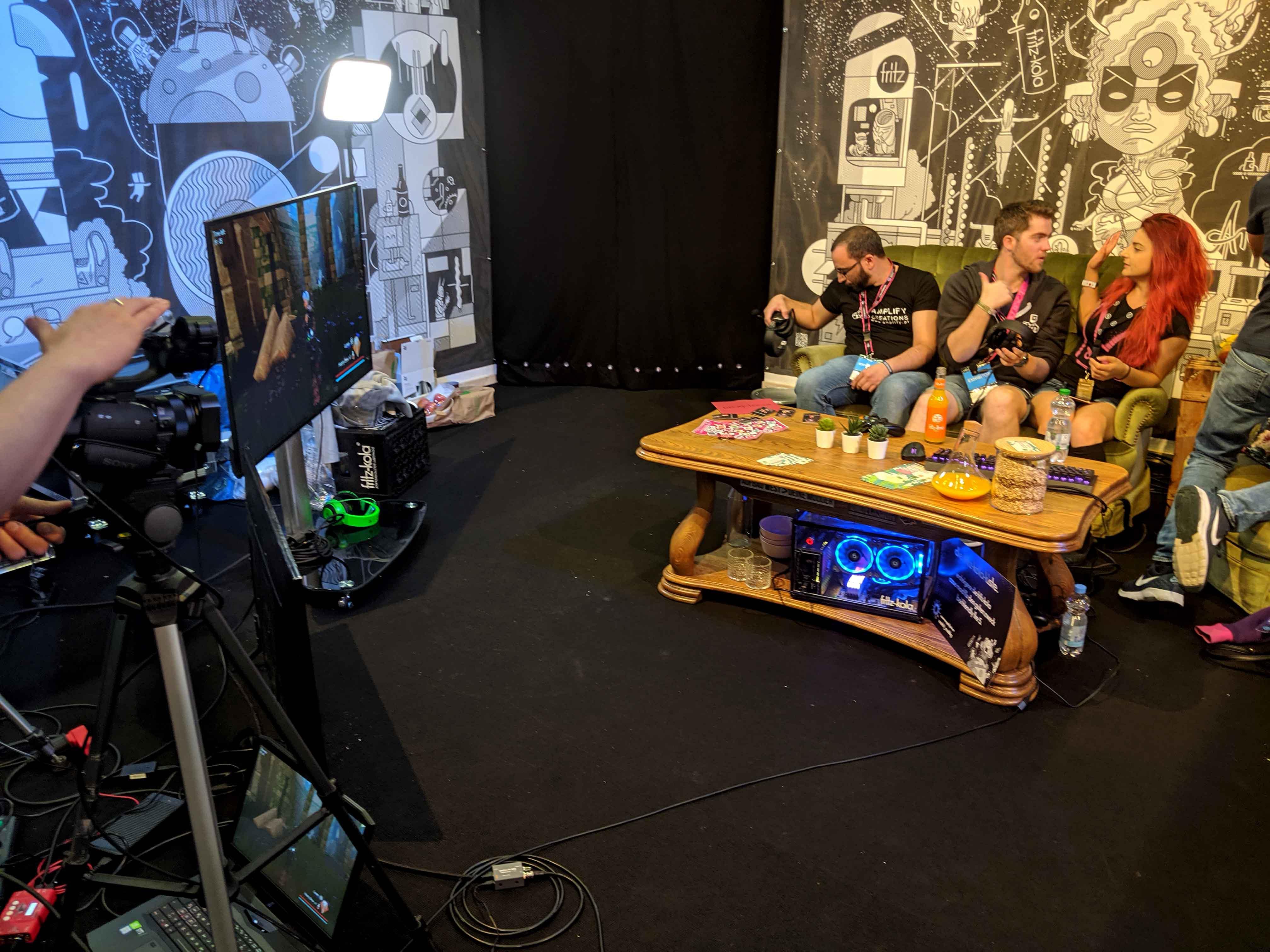 Valkia on a live stream at Gamescom