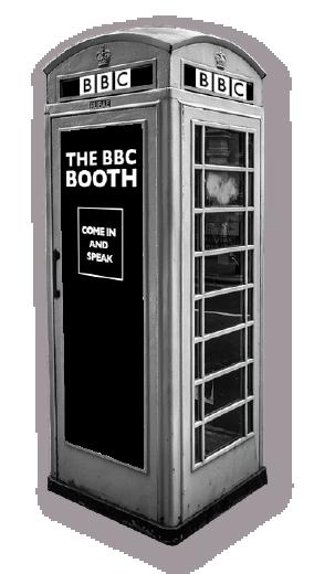 Red telephone box.