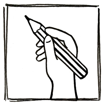 Content creation icon showing a pencil