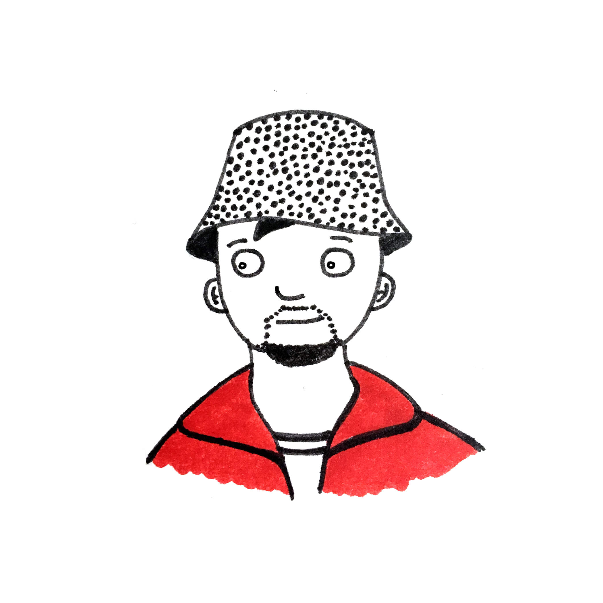 Man with a hat and a red t-shirt