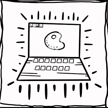 Laptop showing a graphic design