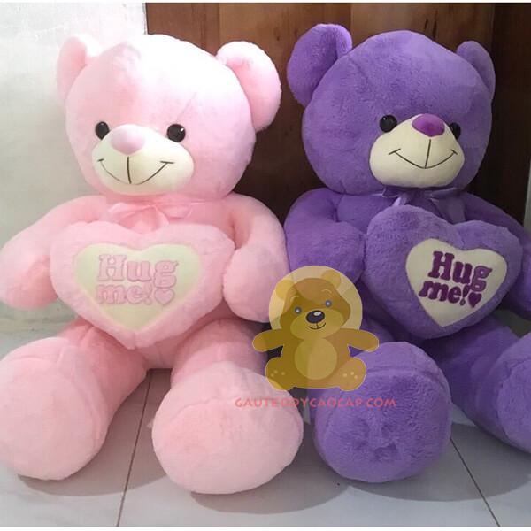 Gấu teddy 1m đính tim