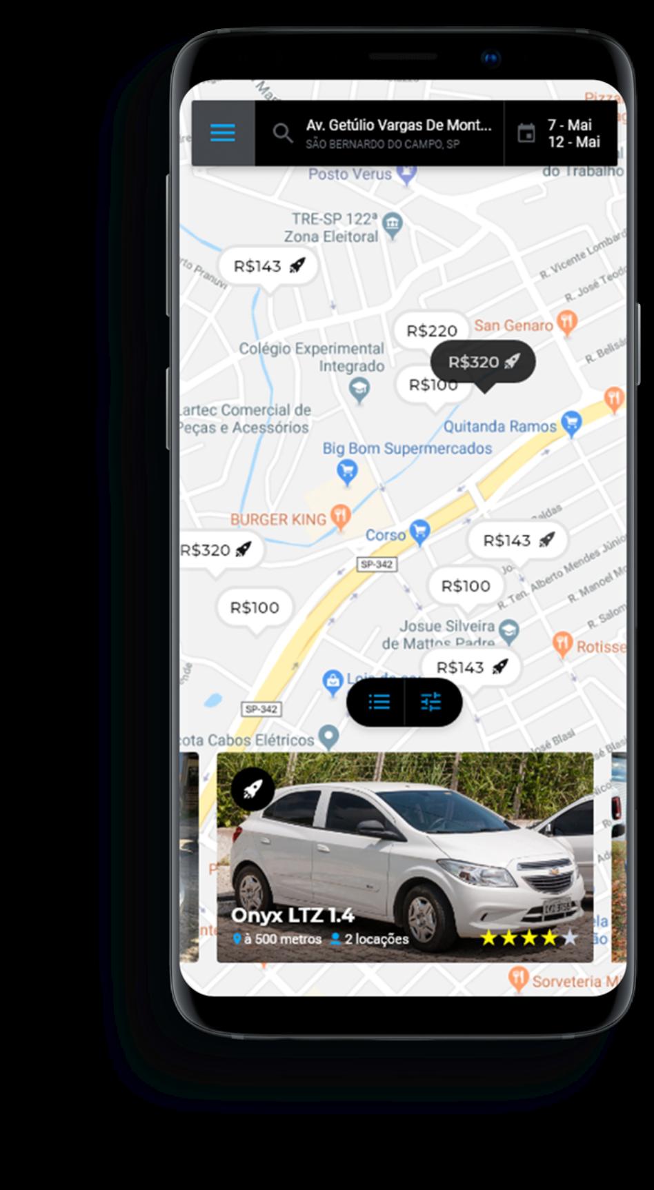 App mostrando mapa com carros disponíveis para aluguel em em São Bernardo do Campo, SP