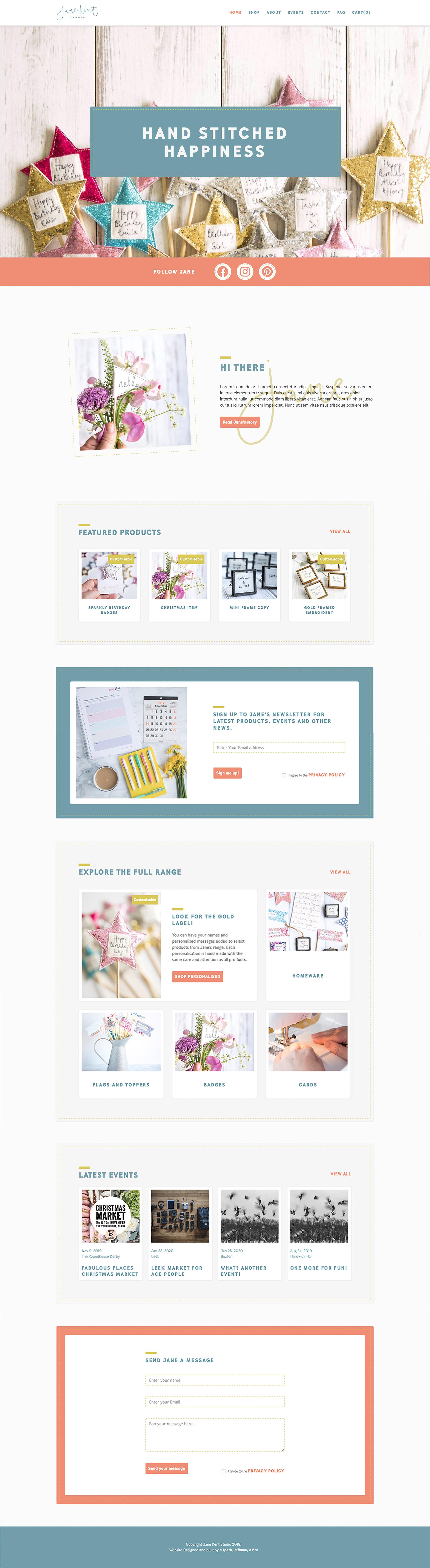 Jane Kent Studio Website Home Page Design