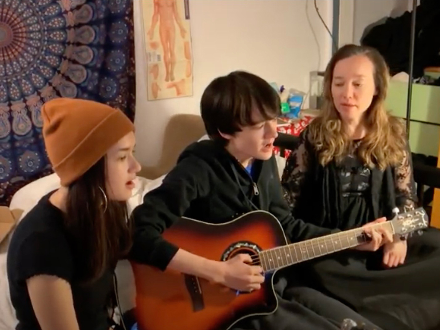 Talia, Liam, and Ondine perform Helplessly hoping