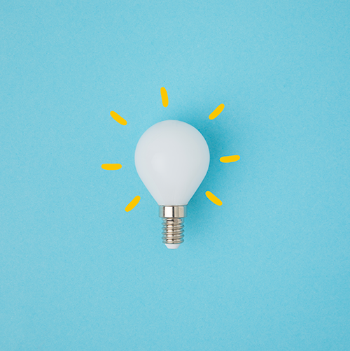 Photo of a light bulb on a blue background