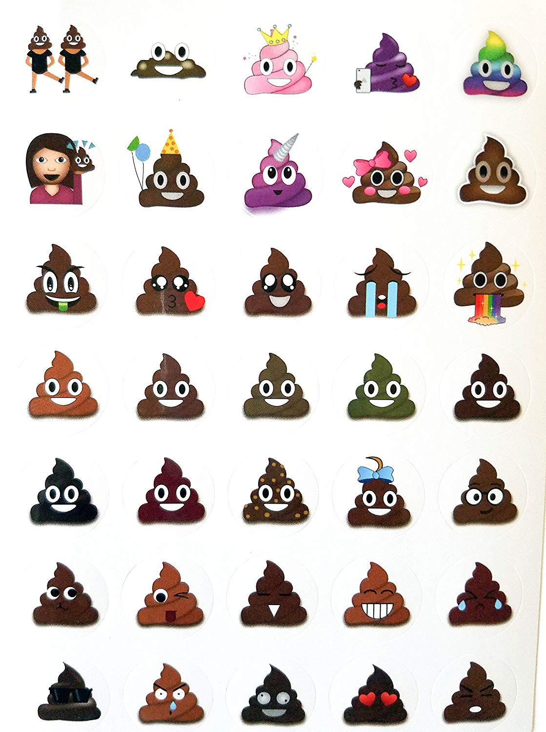 A page of poop emoji stickers including princess poop, birthday poop, and love heart poop
