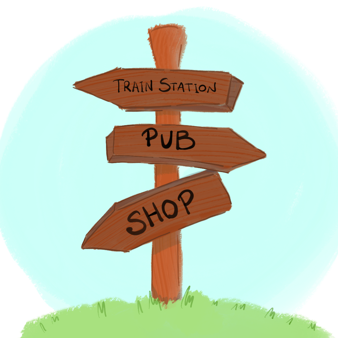 signpost showing the way to  the train station, pub and shop