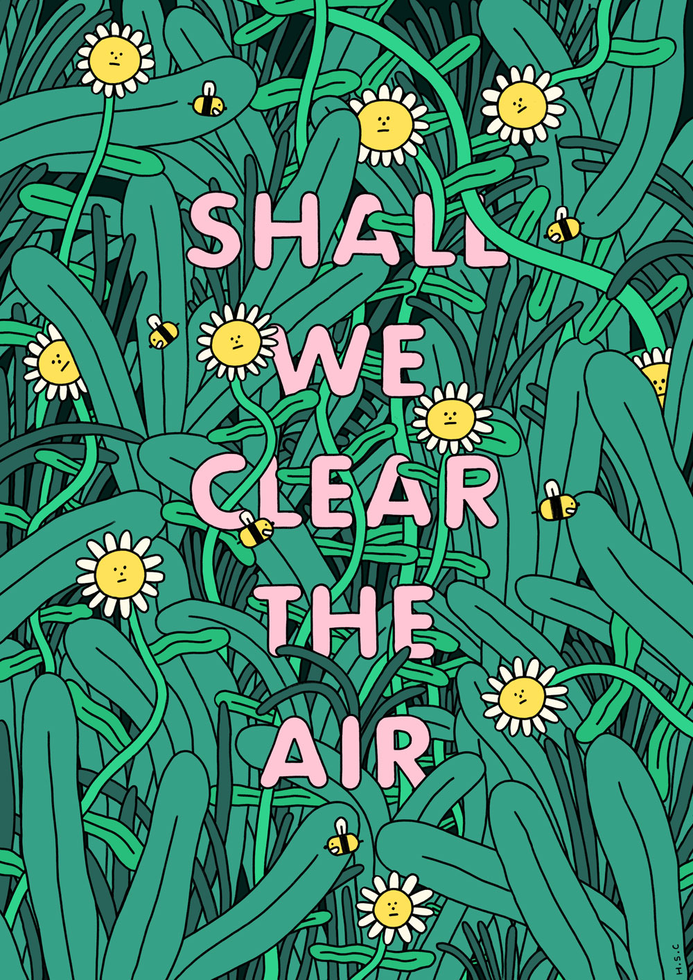 The text reads 'Shall we clear the air?' The illustration around it shows an overgrown tangle of daisies, bees and grass.