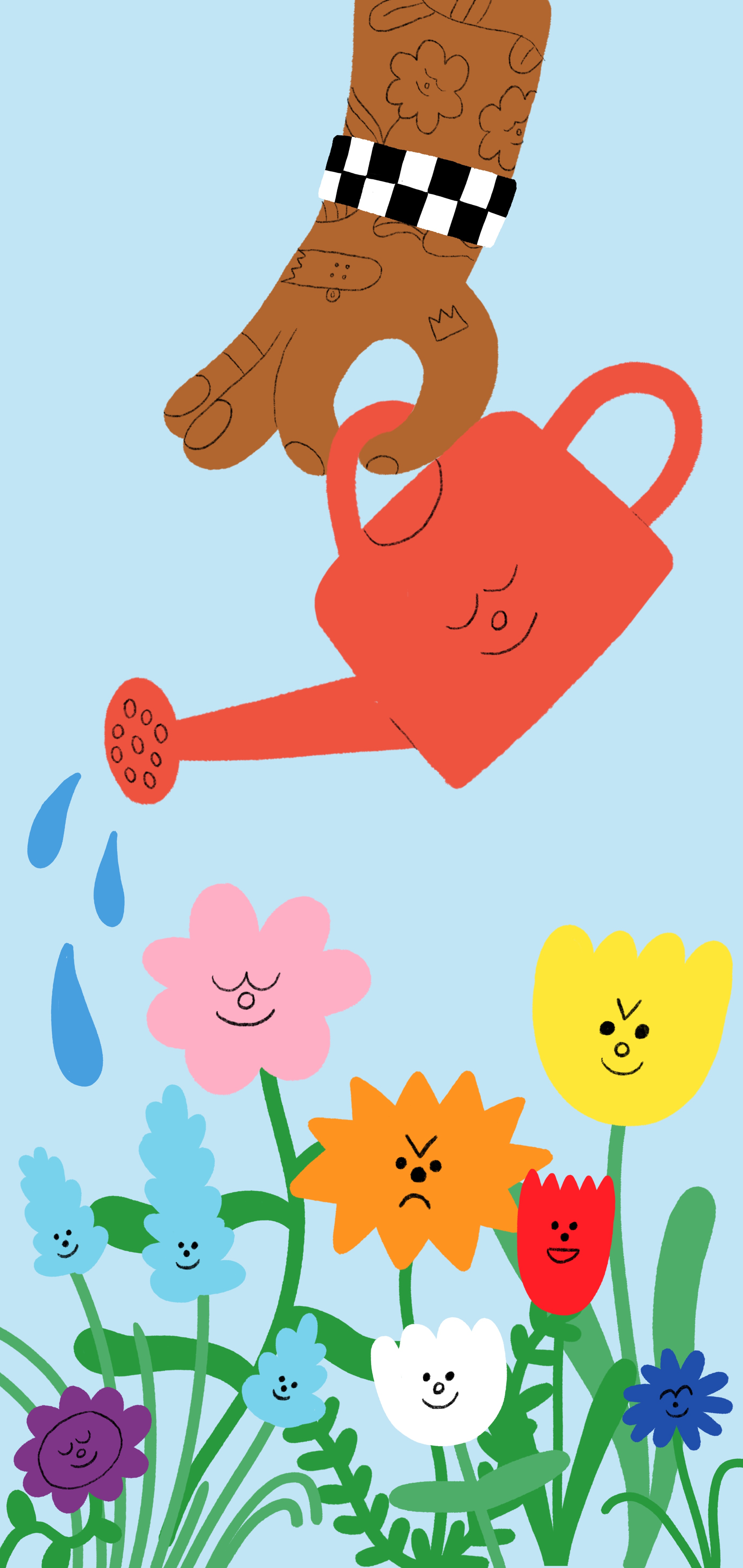 A brown hand holds a red watering can and tends to a garden of colourful flowers with sassy faces.
