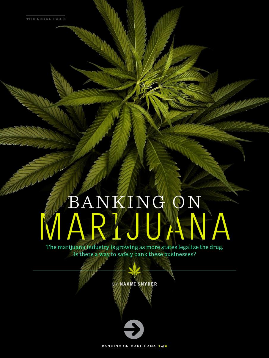 Digital magazine cover example with marijuana in banking