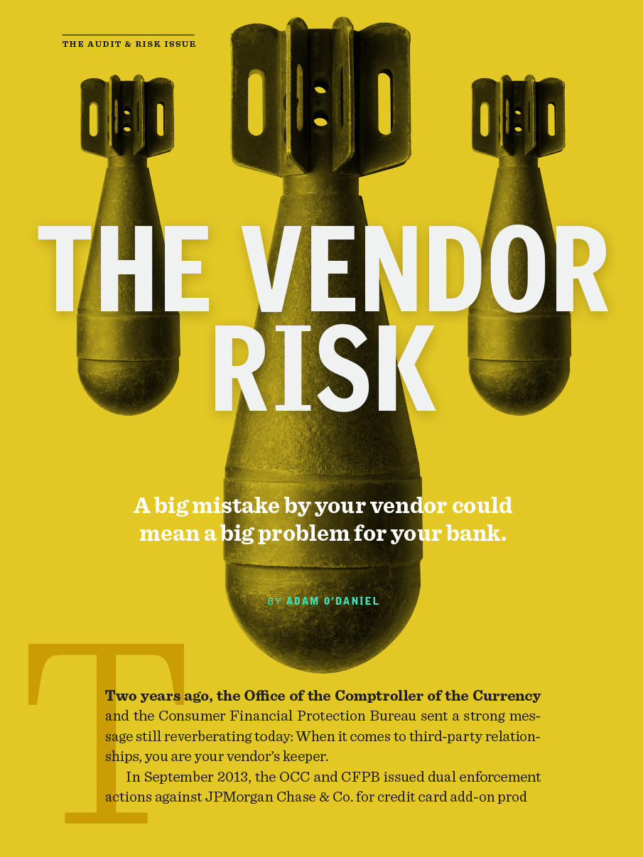 Digital magazine cover example vendor risk with bombs