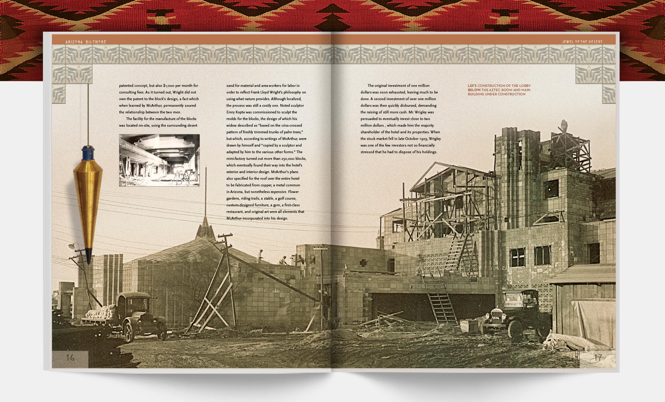 Interior spread: construction of the Aztec Room | Robertson Design