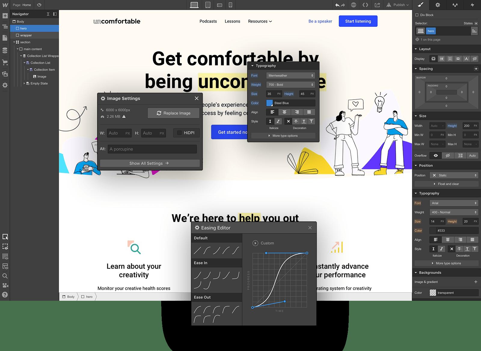 Webflow dashboard design system