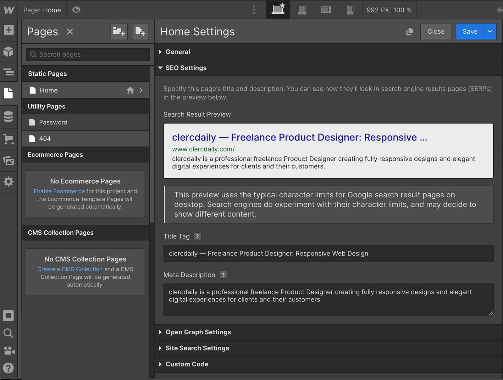 Webflow advanced seo settings