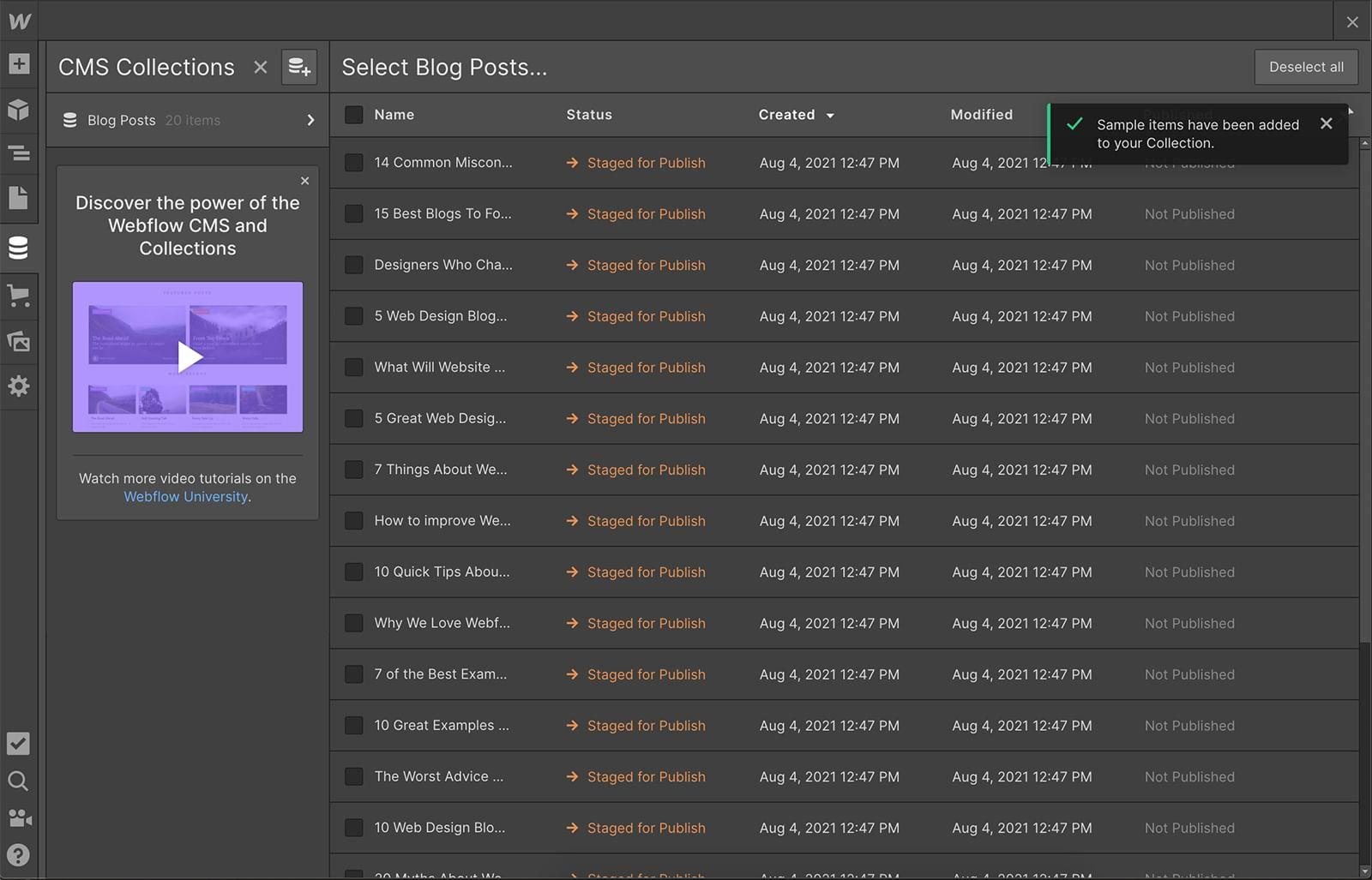 Webflow content management system