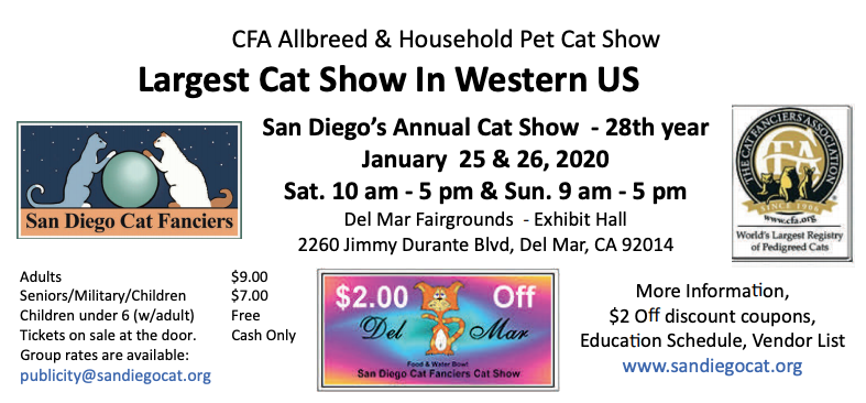 """San Diego Cat Show 2020 """"Food and Water Bowl XXX"""""""