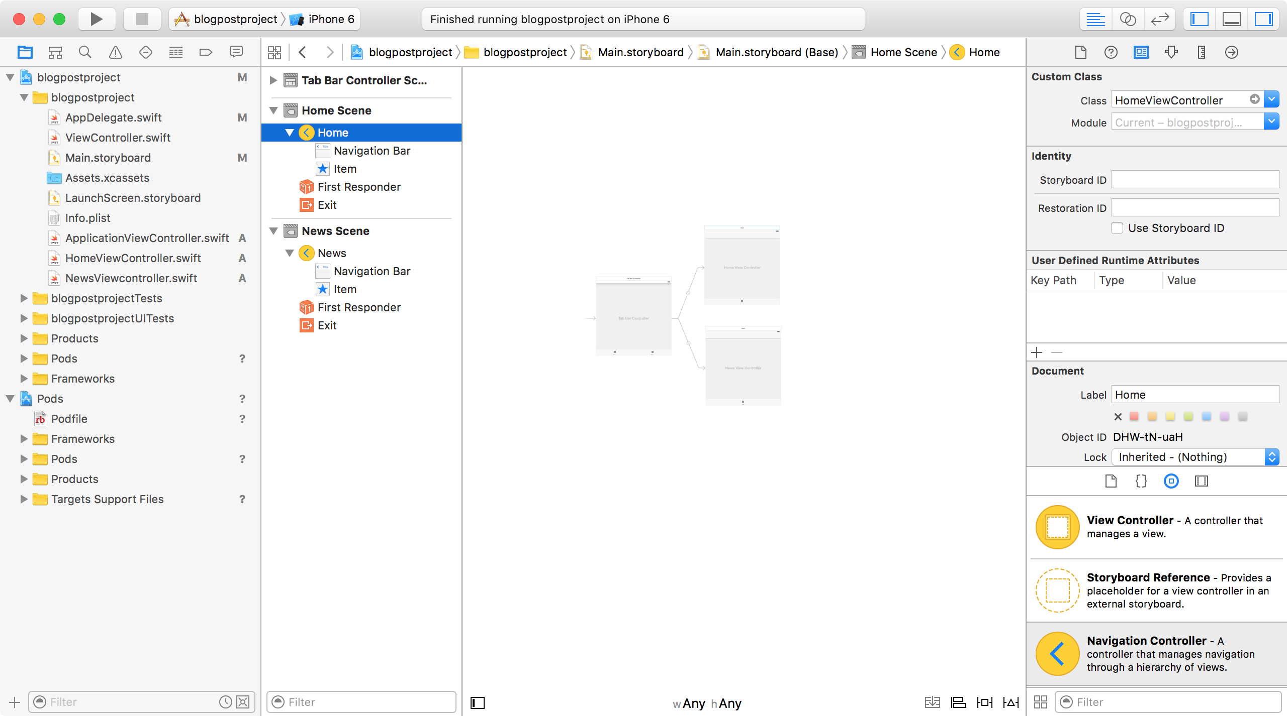 Tab Bar native-hybrid app with Xcode storyboards and