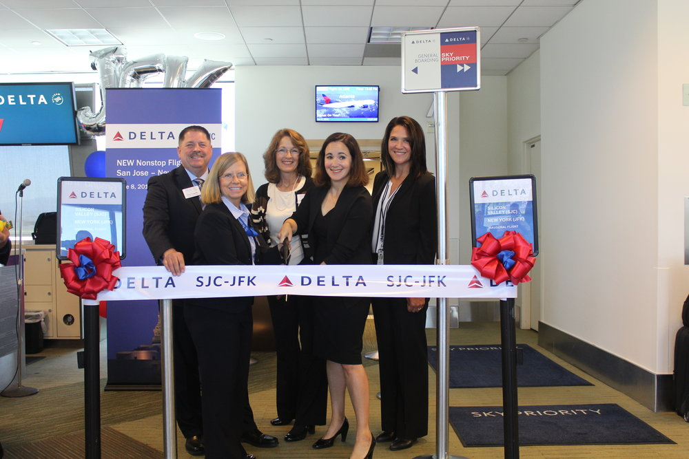 L to R:   Back row  'Äì Dan Connolly and Catherine Hendrix, Airport Commission;  Front row  'Äì Judy Ross, SJC Assistant Director of Aviation; Delta'Äôs Dana Debel, Managing Director, State & Local Government Affairs and Lisa Harbeson, SJC Station Manager.
