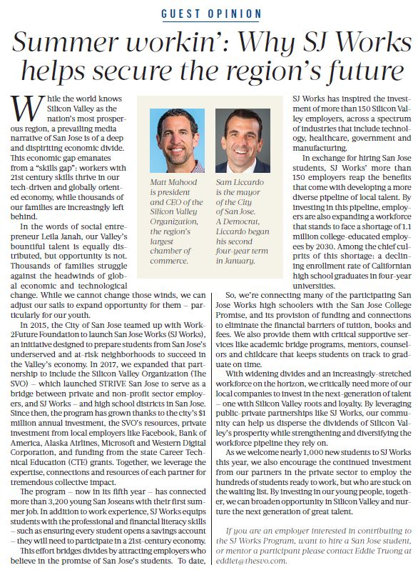 Joint Opinion Editorial on San Jose Works with San Jose Mayor Sam Liccardo featured in the Silicon Valley Business Journal on May 31, 2019.
