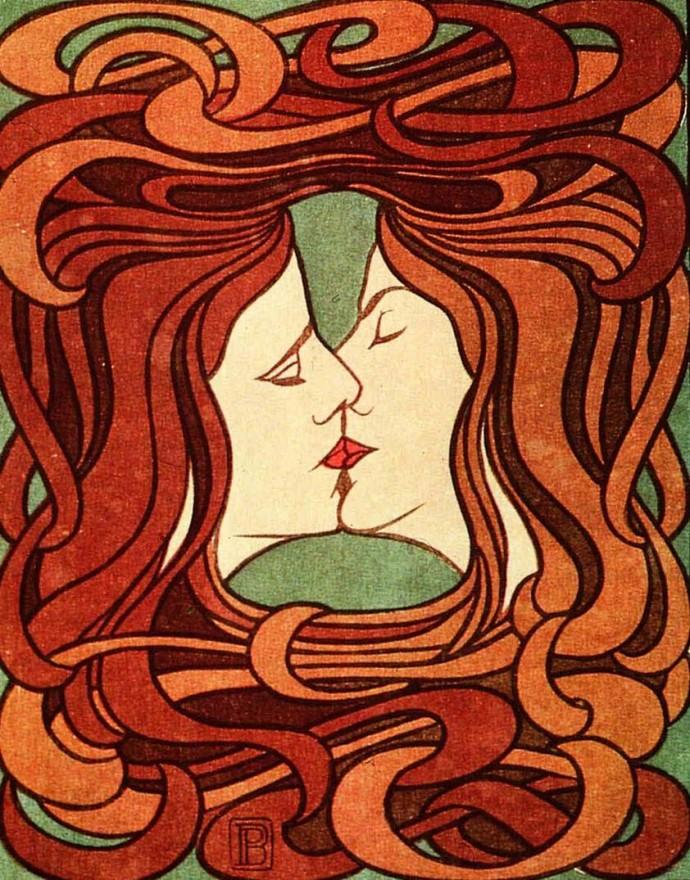 """Drzeworyt """"Pocałunek"""" z 1898 roku"""