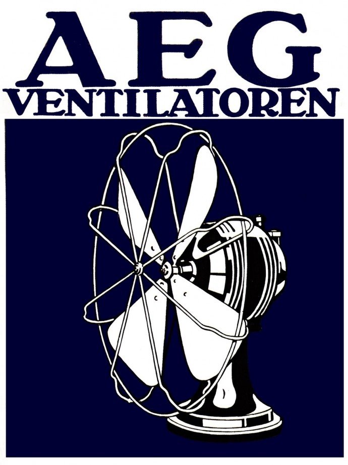 Wentylator i reklamujący go plakat autorstwa Behrensa