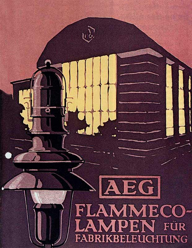 Zaprojektowane przez Behrensa lampa przemysłowa i Hala Turbin AEG na plakacie jego autorstwa