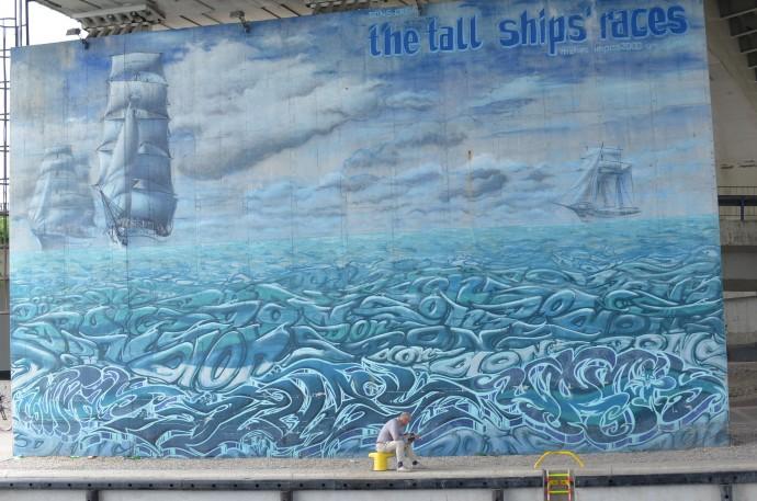 Mural z reklamą największej imprezy promowanej przez miasto