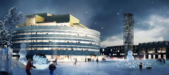 Konkurs na nowy ratusz wygrała duńska Henning Larsen Architects, obok stanie stara wieża zegarowa © Henning Larsen Architects