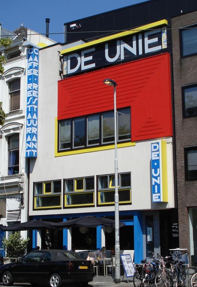 Mondrianowska elewacja Cafe De Unie Jacoba Ouda z 1925 roku odbudowana w innym miejscu © Wikimedia Commons