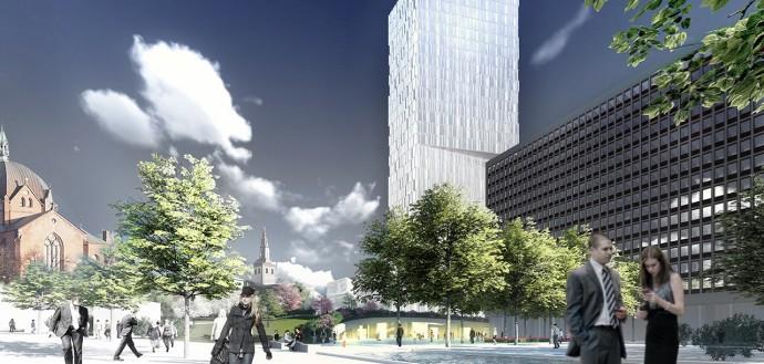 Najwyższą w mieście dominantę chce postawić norweskie studio © Asplan Viak