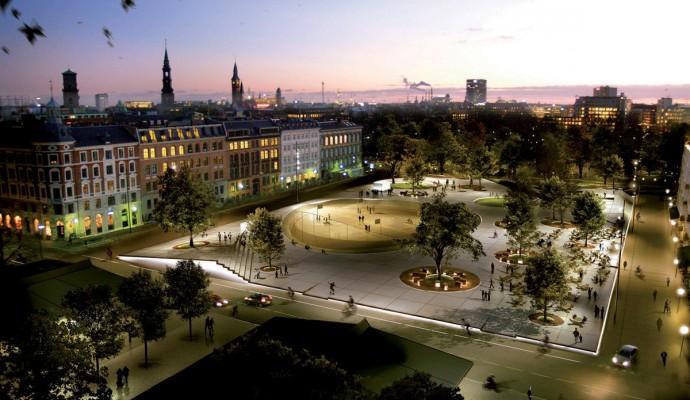 W nocy spod krawędzi latającego dywanu wynurza się światło © Duńskie Centrum Architektury / Kontraframe