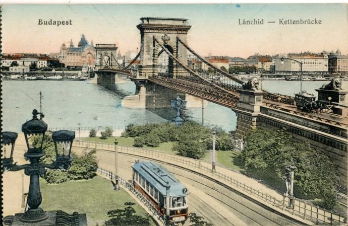 Most Łańcuchowy, pocztówka z pierwszej dekady XX wieku