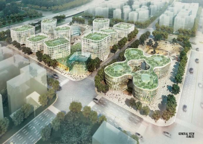 Nowa dzielnica biznesowa ma różnić się od Pudong głównie niższą i rzadszą zabudową © MVRDV