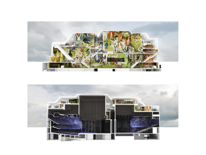 Lico i przekrój budynku © MVRDV