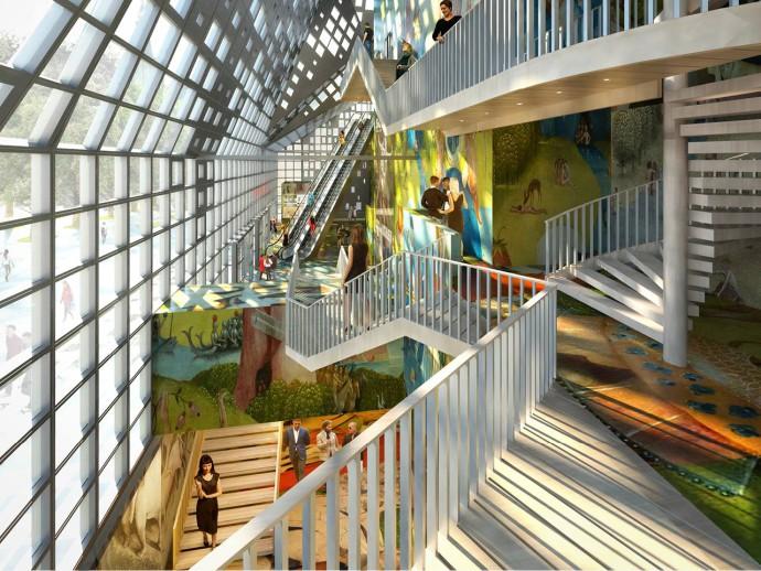 Galerie na wielu poziomach w atrium © MVRDV