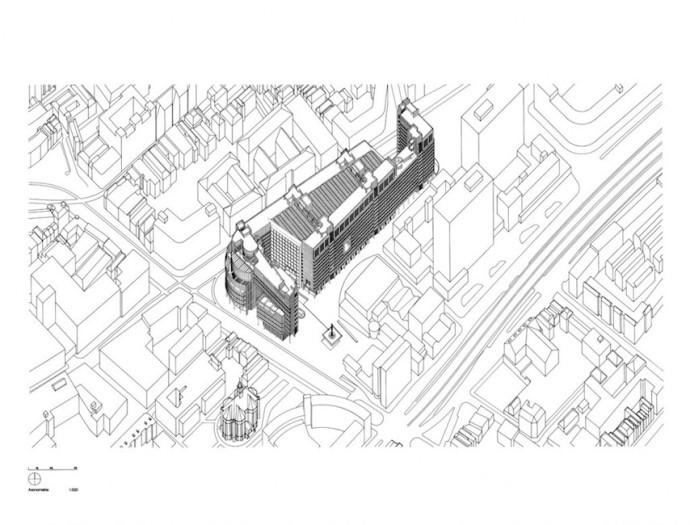Gigant wśród drobnej zabudowy © Richard Meier & Partners Architects LLP