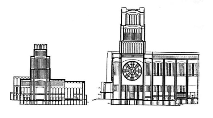 Przekroje projektów Pniewskiego z pierwszego i drugiego konkursu © Muzeum Narodowe w Warszawie
