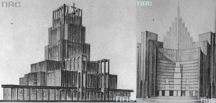 Dwa z trzech nagrodzonych projektów z 1930 roku, Bohdana Pniewskiego i Jana Witkiewicza © Narodowe Archiwum Cyfrowe