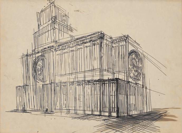 Perspektywa bryły od strony prezbiterium, studium Bohdan Pniewski, 1931 rok © Muzeum Narodowe w Warszawie