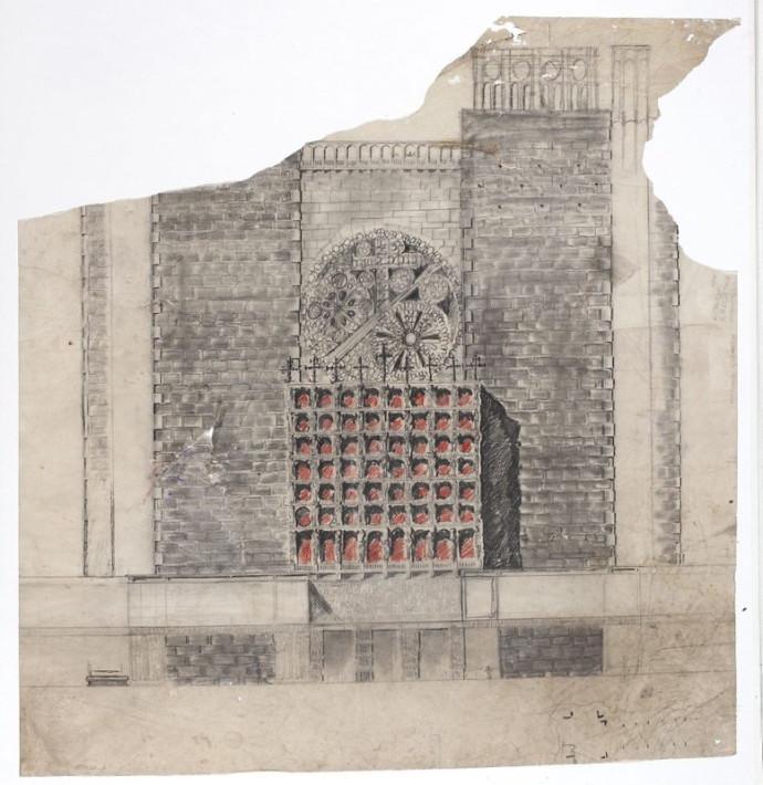 Ostateczna wersja projektu fasady, Bohdan Pniewski, 1938 rok © Muzeum Narodowe w Warszawie