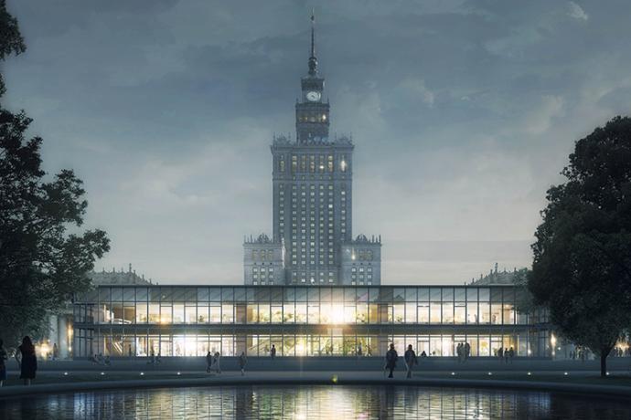 Wydobyty spomiędzy wieżowców pawilon znów może zaświecić, przekonują na wizualizacjach architekci z pracowni BBGK © BBGK Architekci