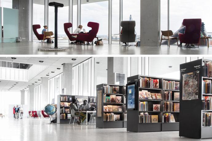 Wygodne fotele i automat do książek na bocznej ścianie półki © urbanmediaspace.dk