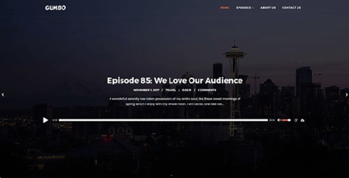 Gumbo Podcasting WordPress Theme