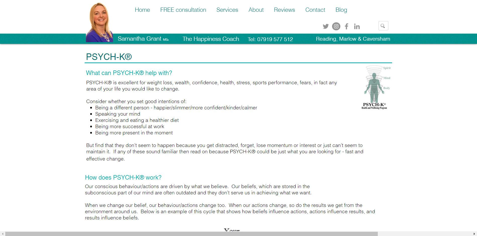 samantha grant wellbeing coach website