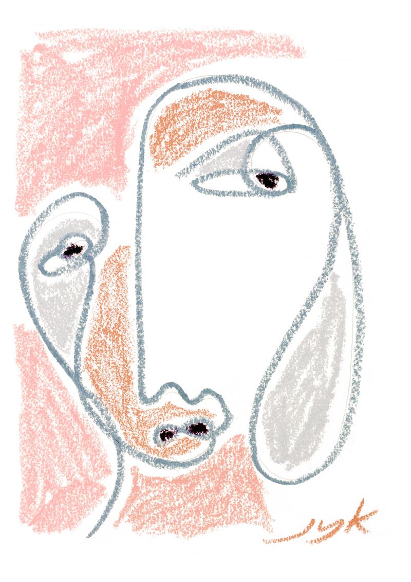 Pastel Portrait Print I