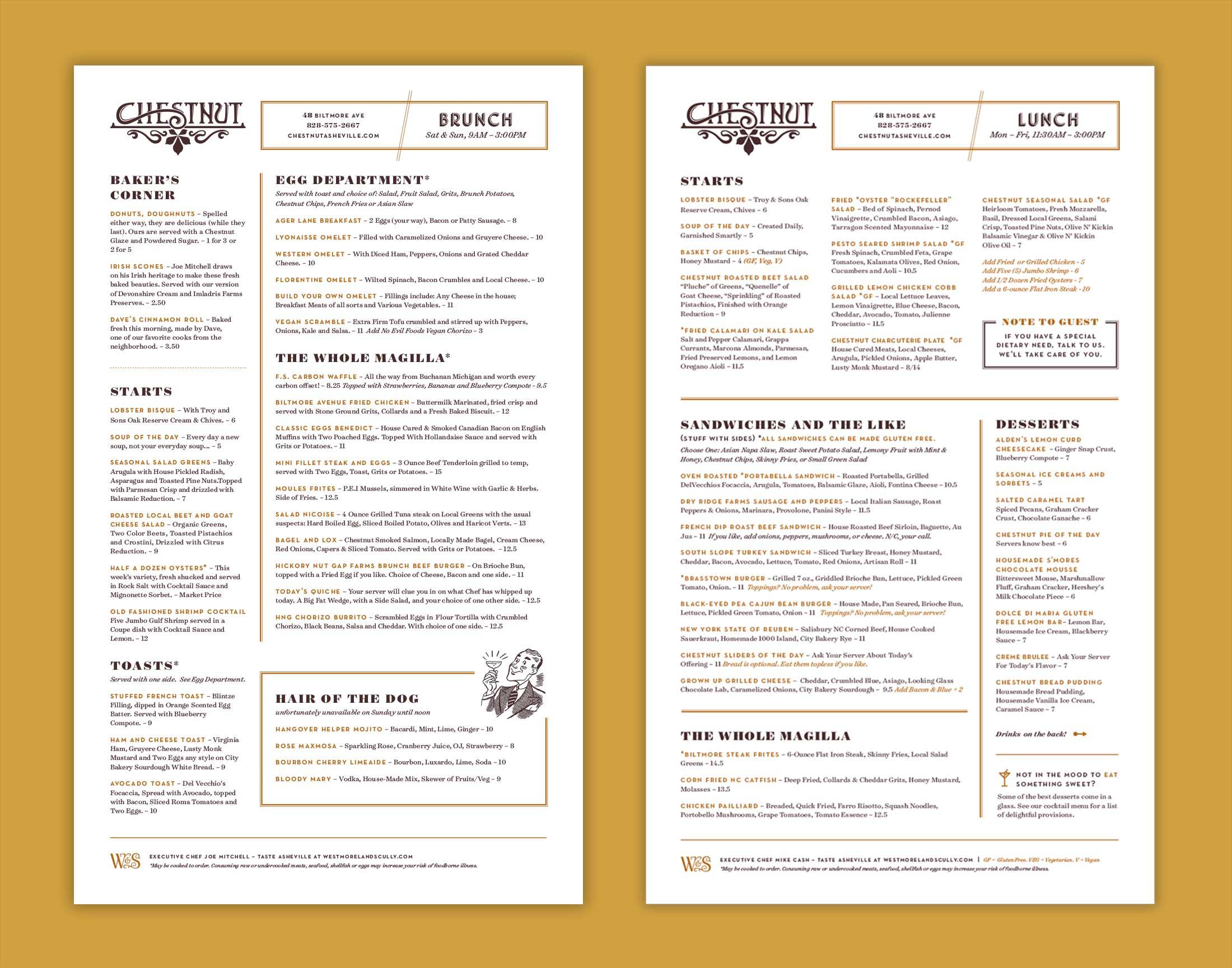 Chestnut menu design