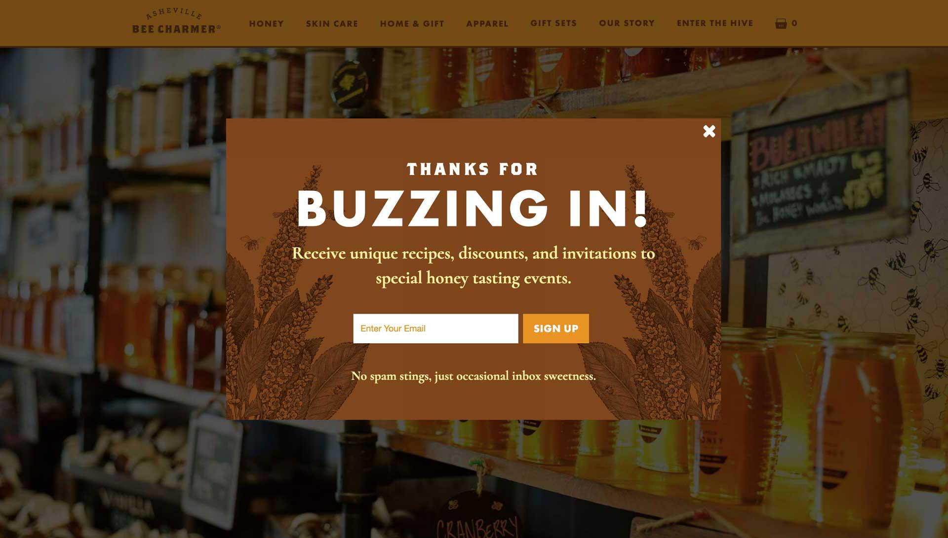 Asheville Bee Charmer popup design