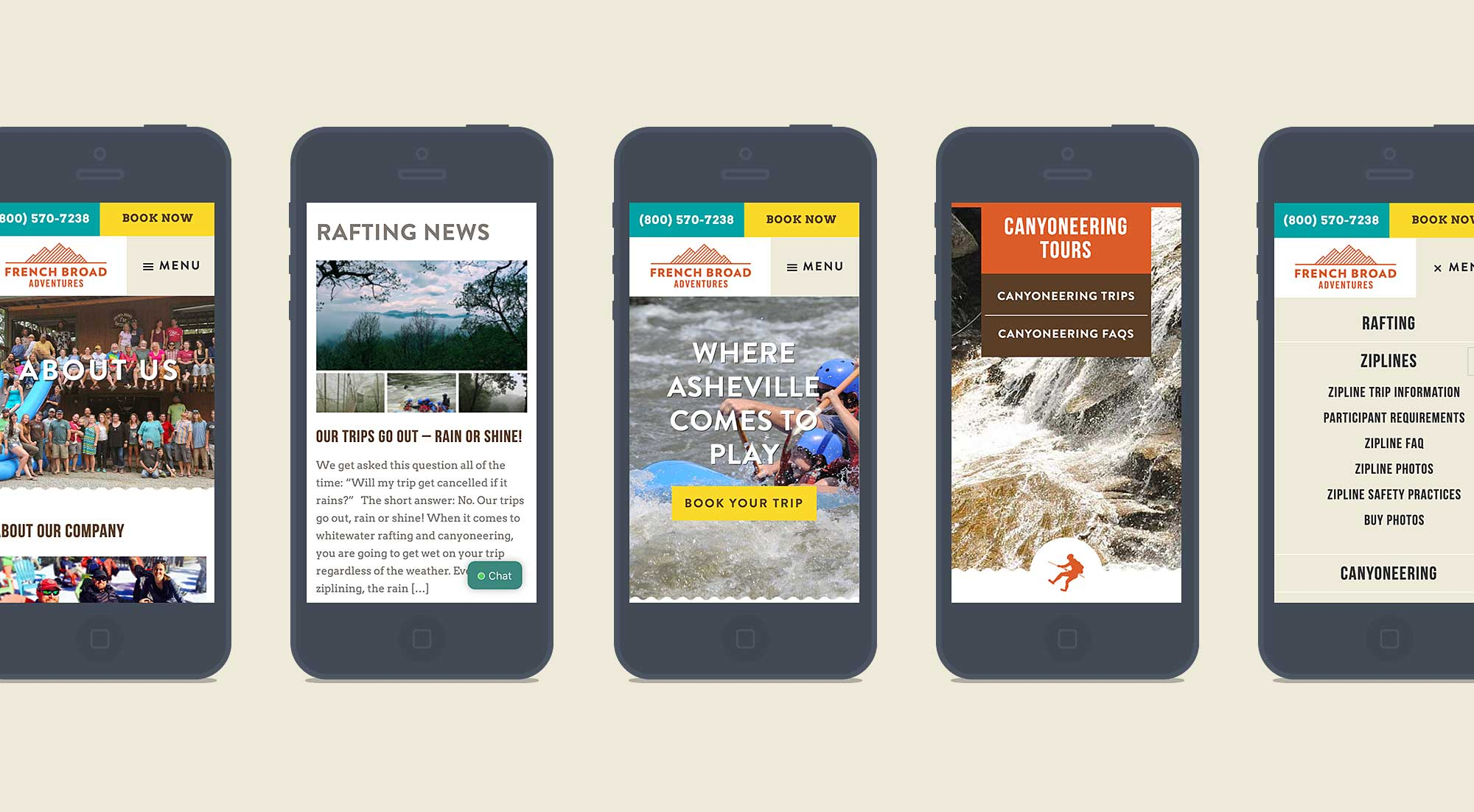 French Broad Adventures mobile screens