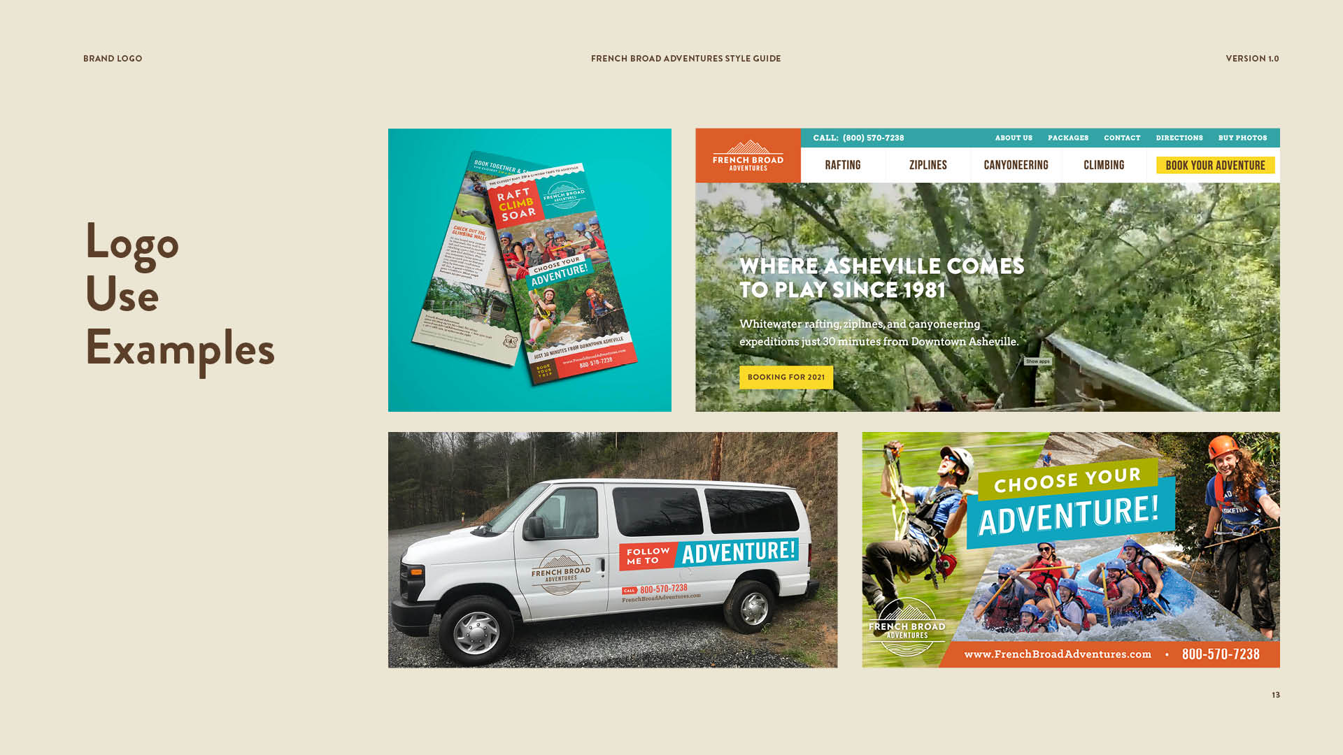 French Broad Adventures logos in use